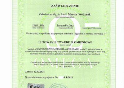 Lutowanie Twarde - Certyfikat