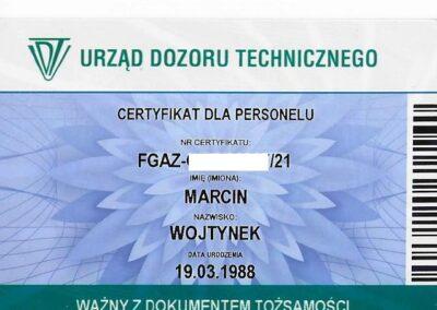 Urząd Dozoru Technicznego - Certyfikat